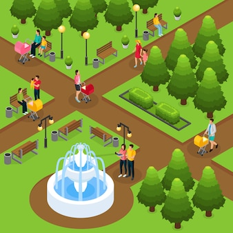 Isometric people in public park template with mothers fathers walking and playing with children