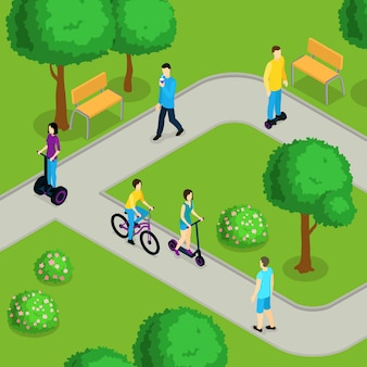 Isometric people ride