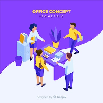 Isometric people scene at office