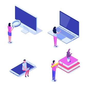 Изометрические люди с гаджетами, работающих с ноутбуком. иллюстрации.