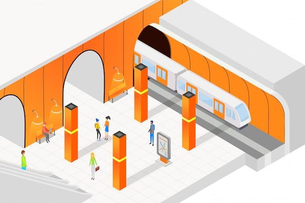 Изометрические люди стоят на платформе и ждут поезда