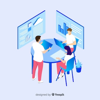 Isometric people team contemporary management concept