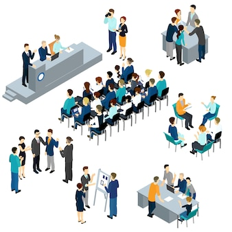 Isometric people teamwork set