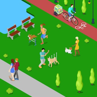 Isometric people training dogs in the city park