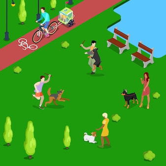 Isometric people training dogs in the park