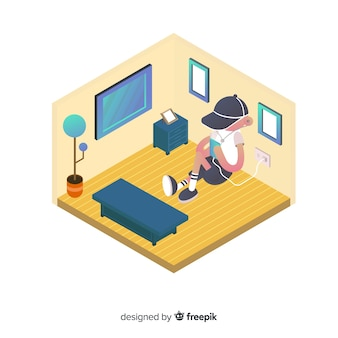 Isometric people using technological devices background