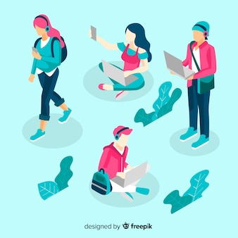 Isometric people using technological devices pack