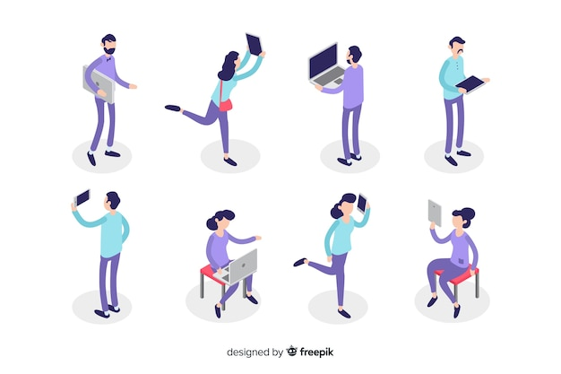 Isometric people using technological devices