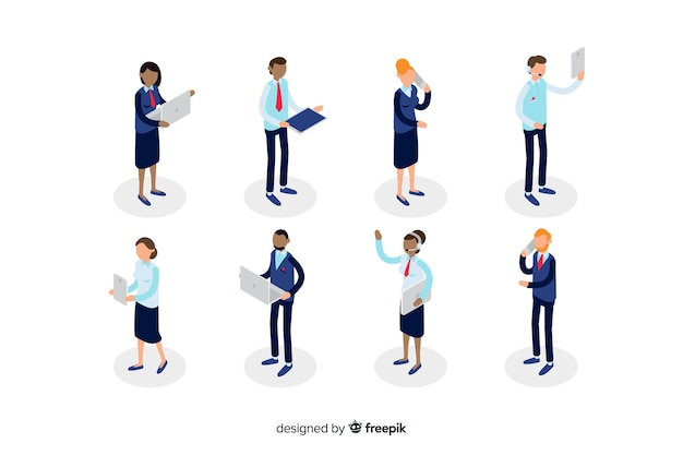 Isometric people using technology devices