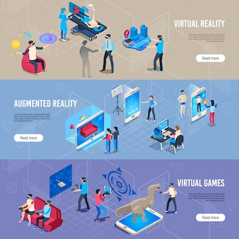 Isometric people in vr, portable virtual reality simulation headset banner collection