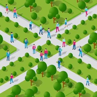 Изометрические люди, идущие, образ жизни, общение в городе