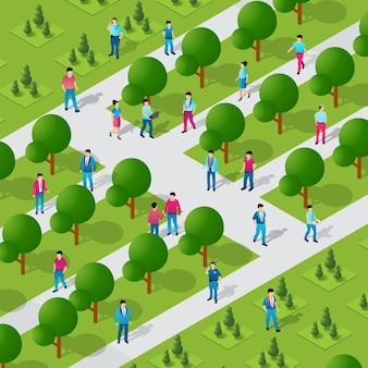 Isometric people walking lifestyle socializing in an urban