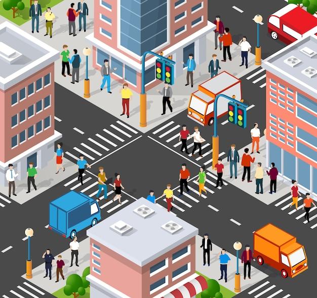 Изометрические люди, идущие по улице