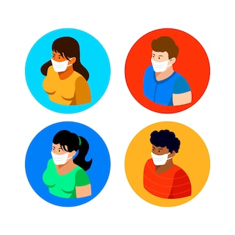 Isometric people wearing medical masks - collection