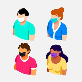 Persone isometriche che indossano maschere mediche - collezione