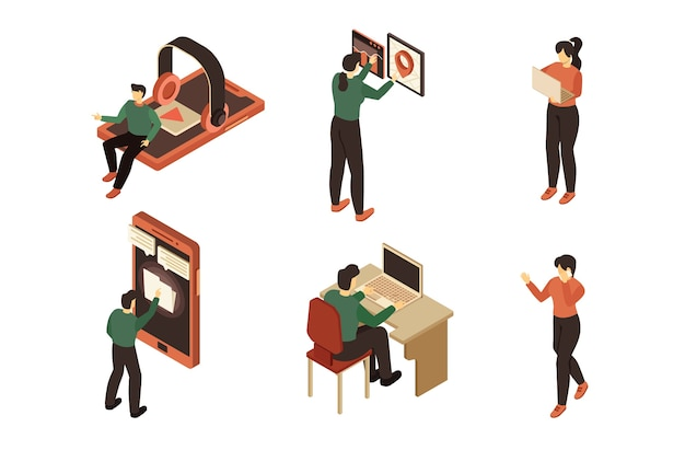 Isometric people with gadget illustration set
