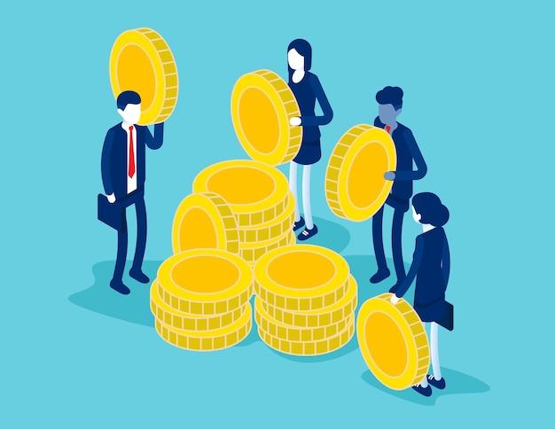 黄金のコインを持つ等尺性の人々はそれらを積み重ねます