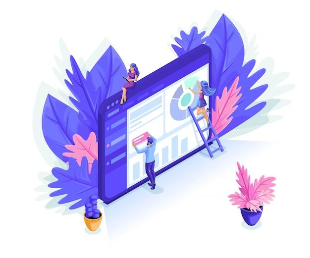 Изометрические люди работают вместе в веб-индустрии. можно использовать для веб-баннера, инфографики.