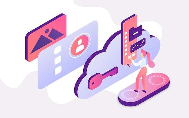 Isometric people work with cloud service student or worker working with cloud interface