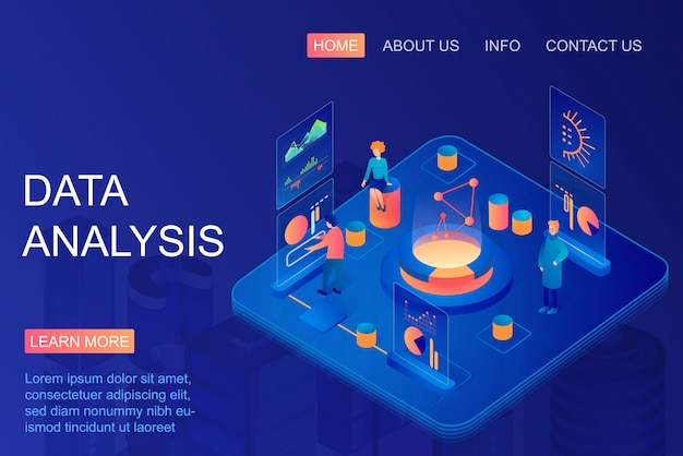 Isometric people working with graphs using data analysis. web analytics and marketing metrics service. big data, business and financial research. database, data storage landing page.