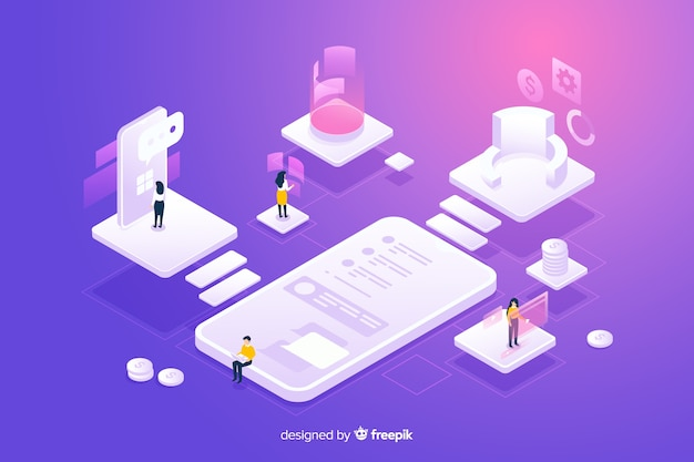 Isometric people working with technology