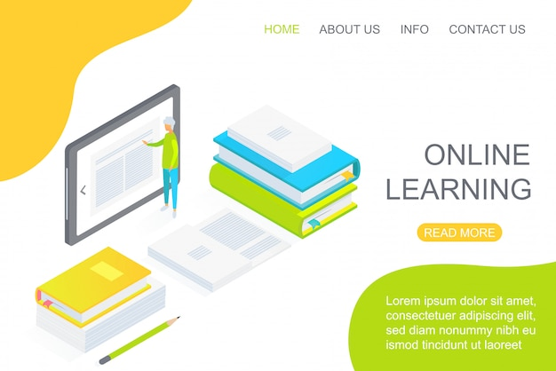 Isometric person using large tablet amidst textbooks dedicated to online education landing page concept vector illustration.