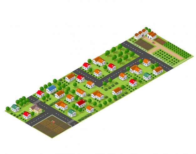 Isometric perspective view of a rural area with village houses