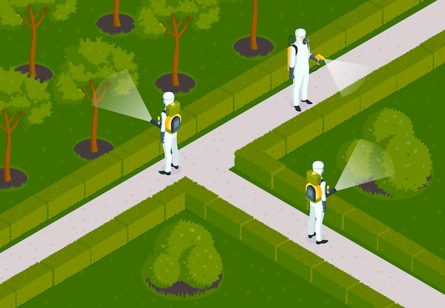 Isometric pest control composition with outdoor garden scenery and desinsection team of workers in chemical suits illustration