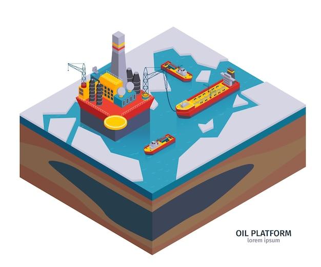 Изометрическая композиция нефтяной промышленности с редактируемым текстом и изображениями нефтедобывающей платформы на ледяной иллюстрации,