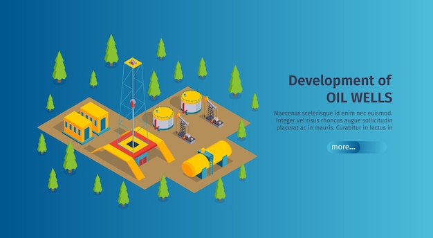 Isometric petroleum industry horizontal banner with editable text more button and images of oil derricks pumps