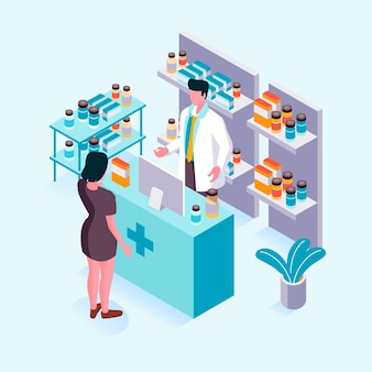 Isometric pharmacy concept