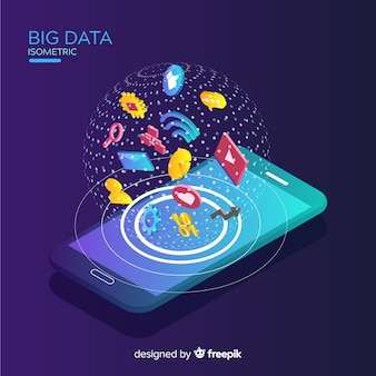 Isometric phone big data background