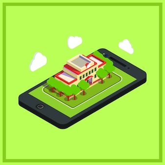 Isometric phone and building