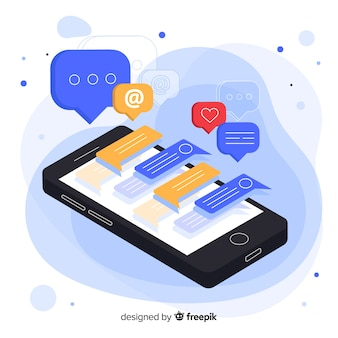 Isometric phone displaying a chat