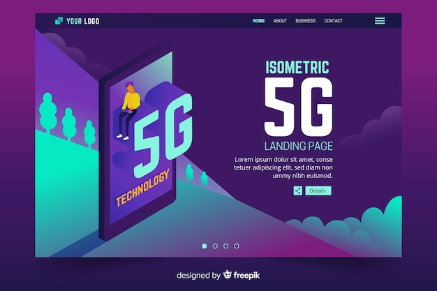 Isometric phone with 5g landing page