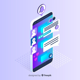 Isometric phone with chat concept