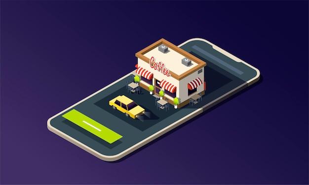 コーヒーハウスの道路とタクシーの車と等尺性の電話