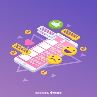 Isometric phone with icons and chat concept