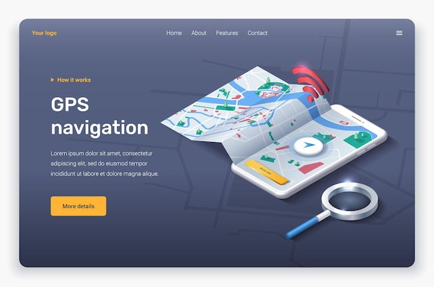 Isometric phone with map, location pin and magnifier. landing page template.