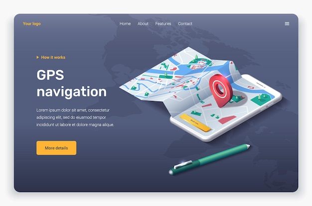 Isometric phone with map, location pin and pen. landing page template.