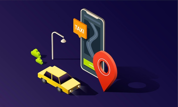 Isometric phone with map, road, taxi car and location pin on dark background.