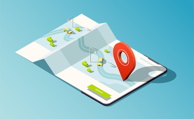 Isometric phone with map, road, taxi cars and red location pin.