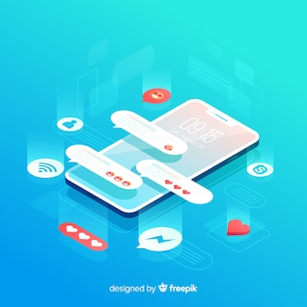 Isometric phone with text message popups