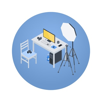 Isometric photographer workplace