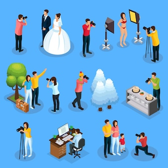 Isometric photographers collection with photographing of wedding model travelers nature food family and photo editing process isolated