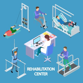 Isometric physiotherapist and rehabilitation patients illustration