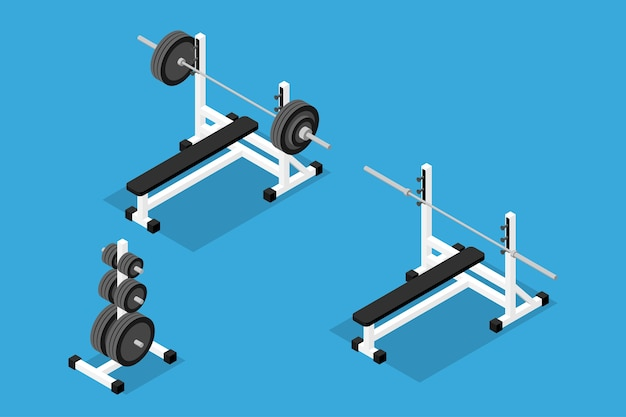 バーベル、ウェイト、ウェイトスタンド、バー、ベンチの等尺性画像。ジムのトレーニング機器、筋力、ボディービルのトレーニングのセット。フラットな3dアイソメトリックスタイル。