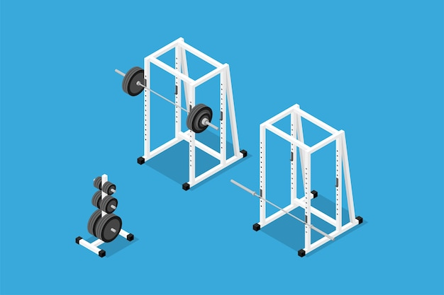 バーベル、ウェイト、ウェイトスタンド、バー、スクワットラックの等尺性画像。ジムのトレーニング機器、筋力、ボディービルのトレーニングのセット。フラットな3dアイソメトリックスタイル。