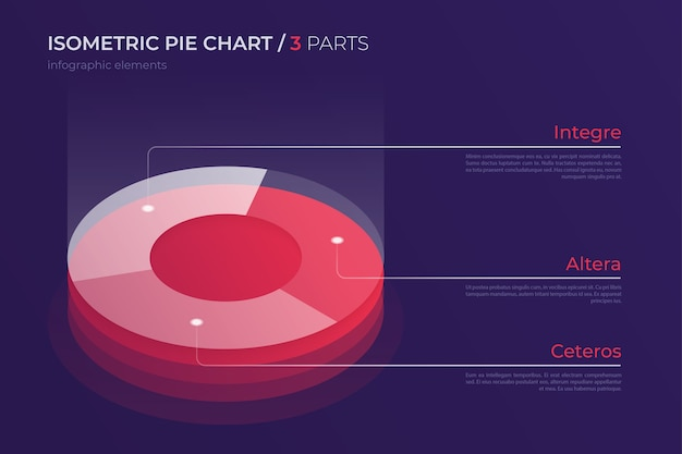 Isometric pie chart design, modern template for creating infographics, presentations, reports, visualizations. global swatches.