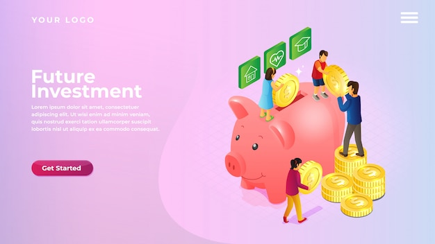 等尺性貯金箱のウェブサイトおよびモバイルアプリのランディングページのお金とコインのコンセプトを節約